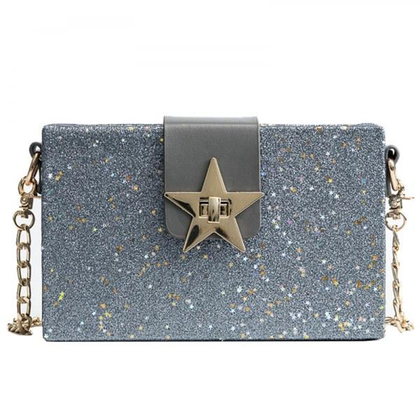 Bolsa Glitter Transversal Hebilla Estrella