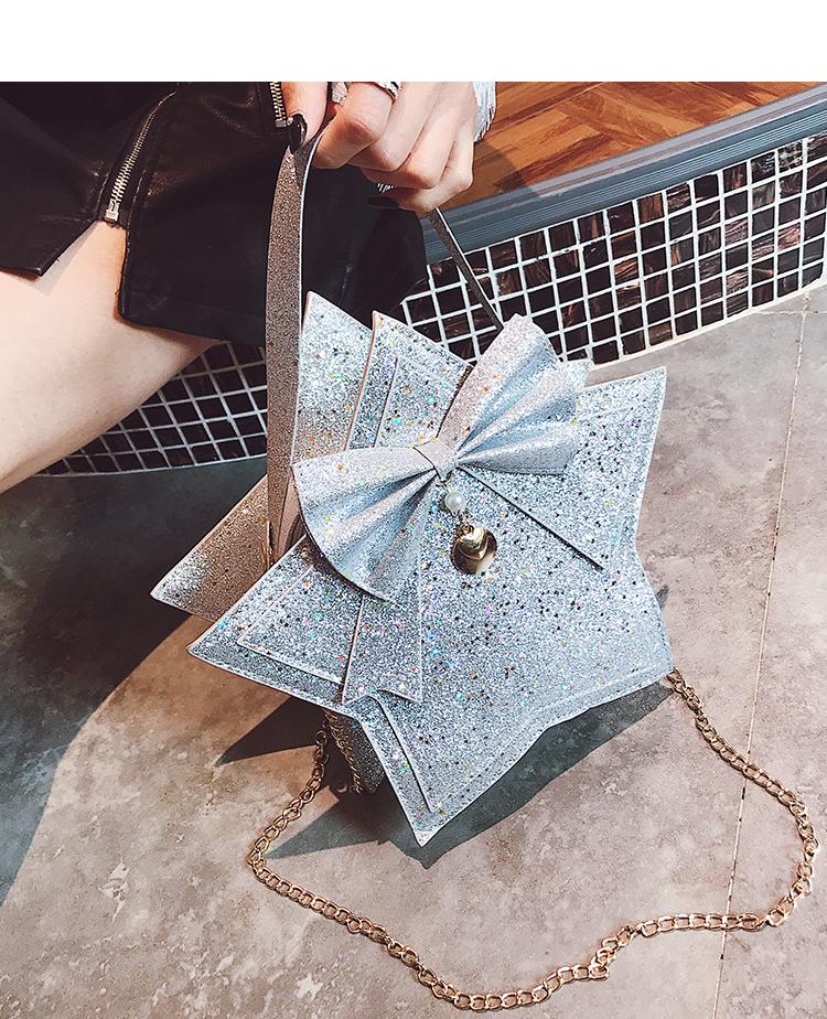 Bolsa Transversal em Glitter forma de Estrela