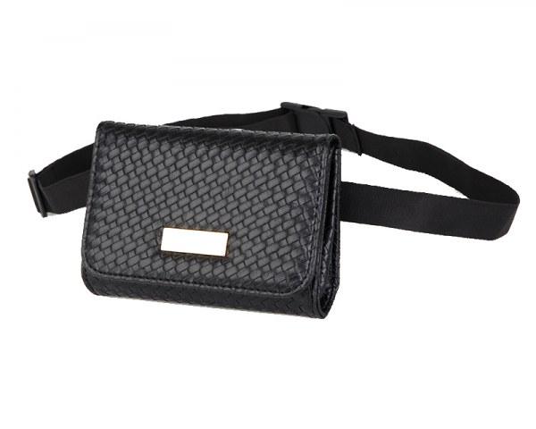 Bolsa Cinturón Pochete Femenina Clásica Textura Negra