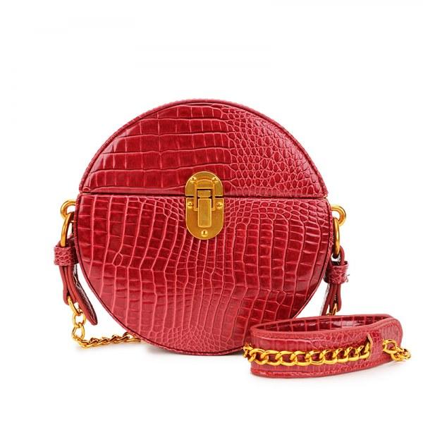 Leather Crocodile Texture Round Bag