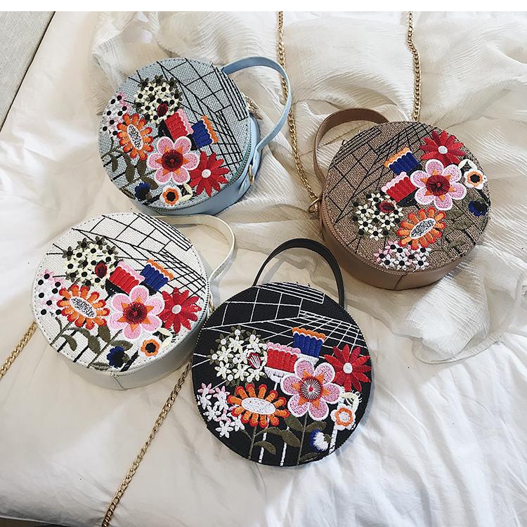 Bolsa Redonda com Bordado Flor cores
