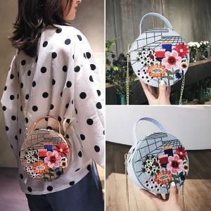Bolsa Redonda con Bordado Flor, bolsa redonda bordada colores