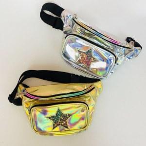 Pochete Feminina Holográfica Estrela prata e dourado