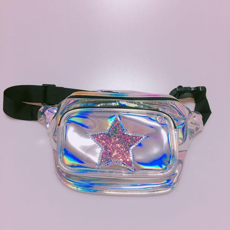 Pochete Femenino Holográfica Estrella, Pochete Holográfica Plata