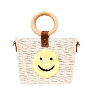 Bolsa Tote de Paja con Alzas de Madera Smile