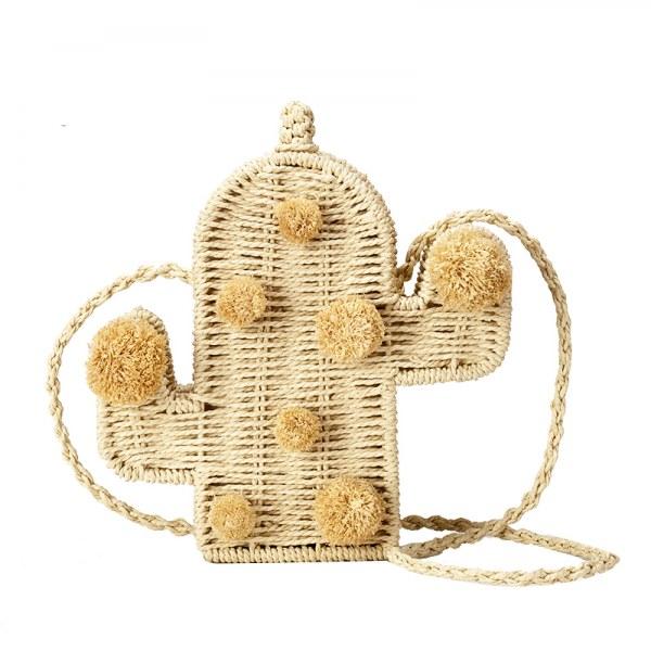 Bolsa de Palha Feminina em forma de Cactos,Bolsa Palha cactos