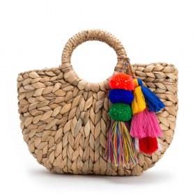 Bolsa de Palha decorada com Pompom