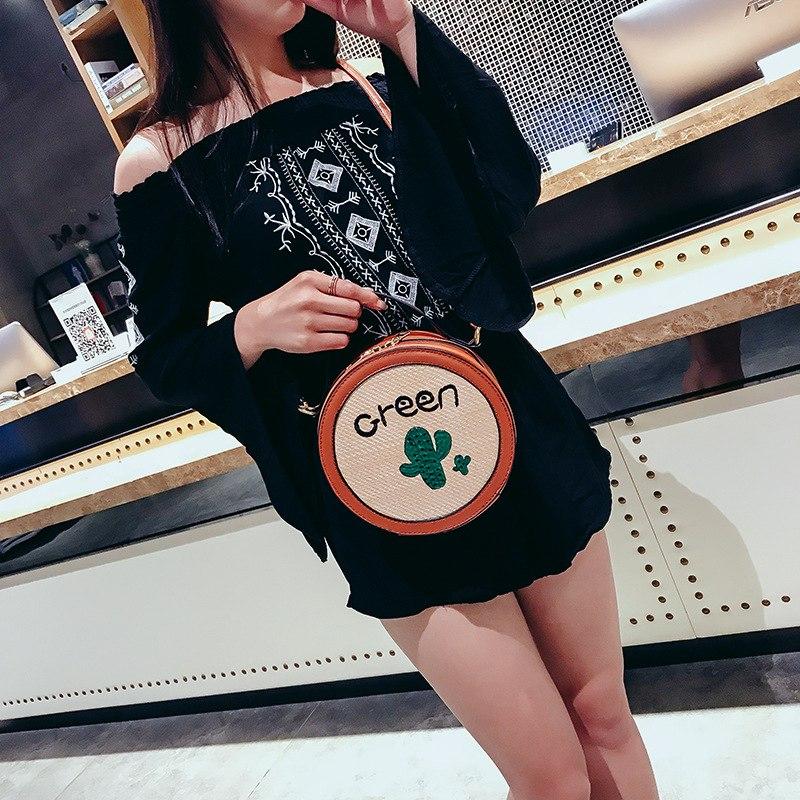 Bolsa de Palha Redonda Estampa Cactos,Moda Feminina Bolsa de Palha