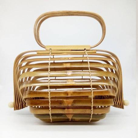 Bolsa de Madeira Bambu Vazada Dobrável,Bolsas de Bambu