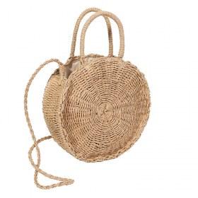 Round Straw Bag decorated with Pompom